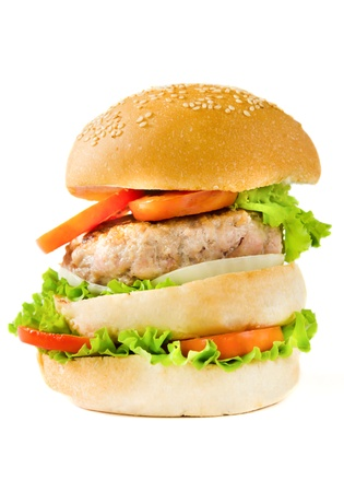 Gigantic hamburger on white background. photo