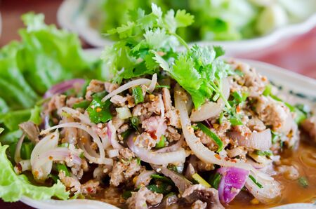 spicy minced pork  with mix vegetable on dish , Thai food Stock Photo - 17041711