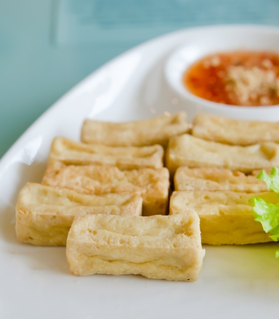 deep fried tofu and fresh vegetable