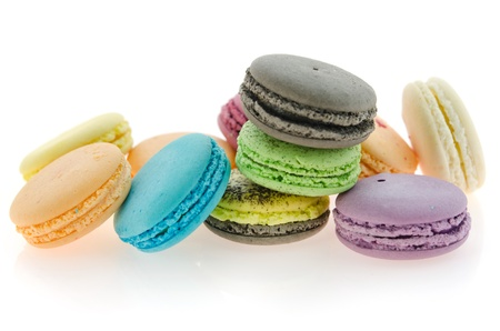 traditional french macaroons  on white background photo