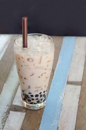 asian flavors: bubble milk tea ( Glass of milk tea with tapioca ) Stock Photo