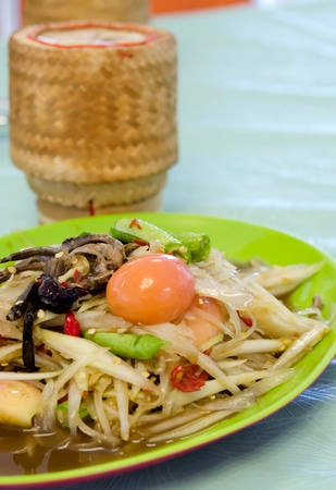 Thai spicy food, spicy papaya salad with crab photo
