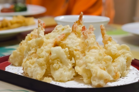 close up deep fried Shrimps , Tempura Japanese cuisine photo
