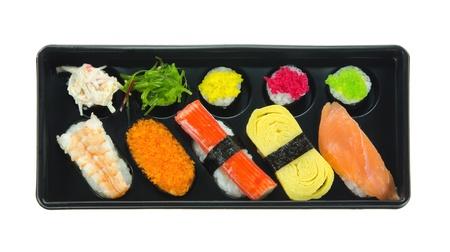 top view Japanese  sushi set , mix sushi rolls