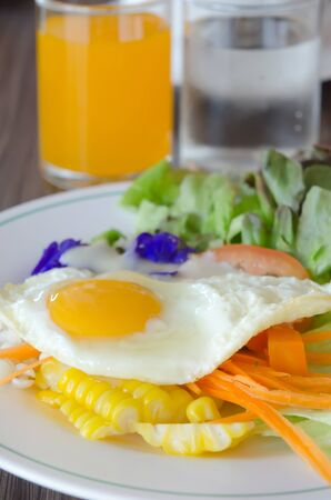 fresh vegetable  salad  and fried egg on dish  photo