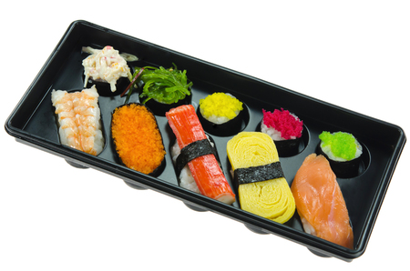 Japanese seafood sushi set , mix sushi rolls photo