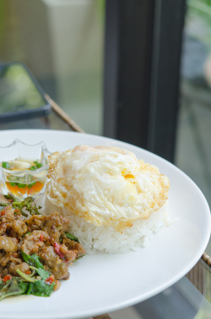 stir fried minced pork with chili , sweet basil served with steamed rice and fried egg photo