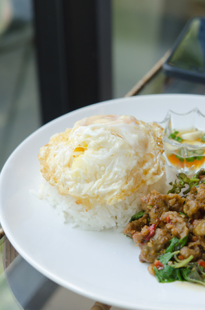 close up steamed rice and fried egg , served with  stir fried minced pork with chili , sweet basil on dish photo