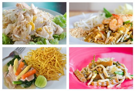 Collage from photographs of Stir fried  noodles photo