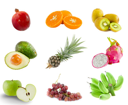 Collage from photographs of  fruits   apple, grapes, banana,dragon fruit, avocado,orange,kiwi,pomegranate   over white background photo
