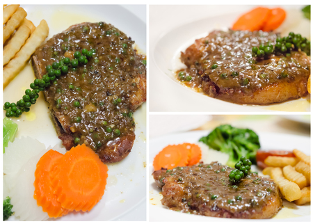 Collage from photographs of  beef  steak with green peppercorn sauce photo