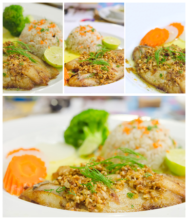 Collage from photographs of roasted fish served with fried rice photo