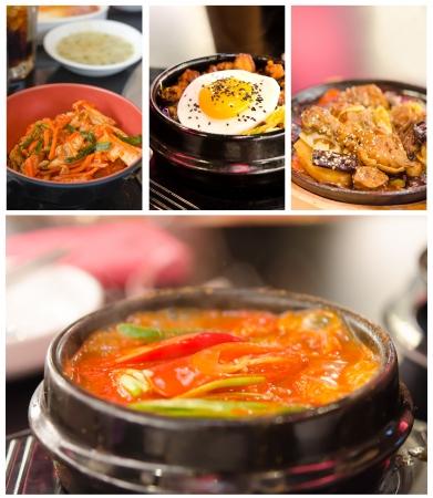 Collage from photographs of korean cuisine   kimchi chigae, jim dak, bibimbap, kimchi  photo