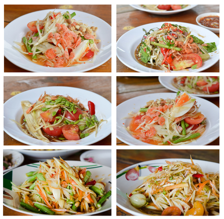 Collage from photographs of  thai papaya salad ,  asian spicy food photo
