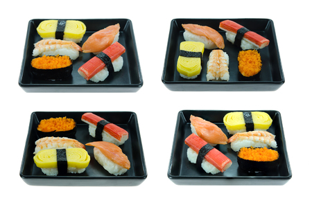 Collage from photographs of Japanese seafood sushi set , mix sushi rolls photo