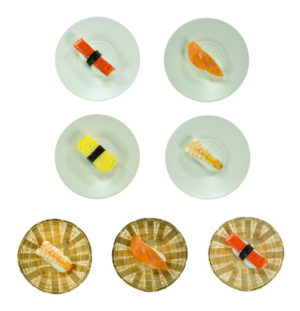 Collage from photographs of  sushi  over  white background photo