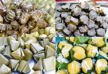 Collage from photographs of thai dessert    Sweet sticky rice in banana leaf package ,made from sugar and coconut, banana rice   photo