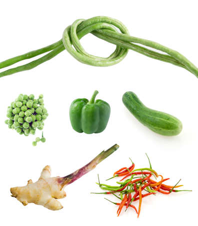 Collage from photographs of mix vegetable over white background photo