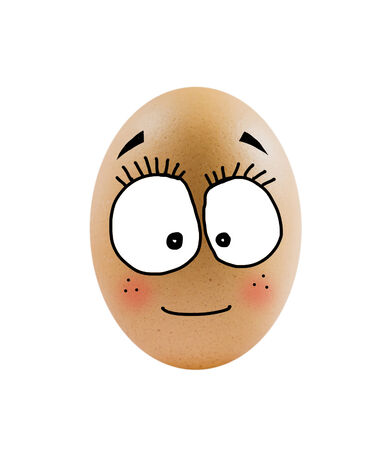 brown egg with funny face over  white background   Imagens