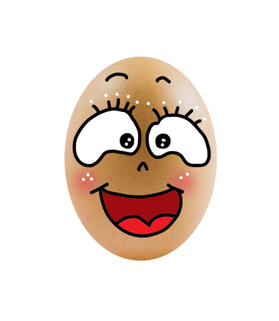 single  brown egg  with smiling face  over  white background   Banco de Imagens