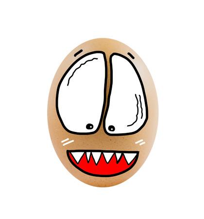 ghost face:   brown egg  with ghost face on white background