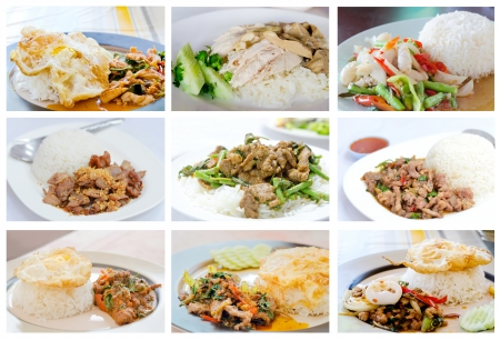 thai basil: Collage from photographs of asian cuisine ( stir fried meat  with mix vegetable served with steamed rice on dish )