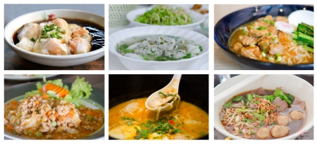 Collage from photographs of asian noodles with  different soup photo