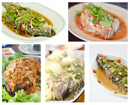 Collage from photographs of snapper fish with mix vegetable on dish , asian food photo