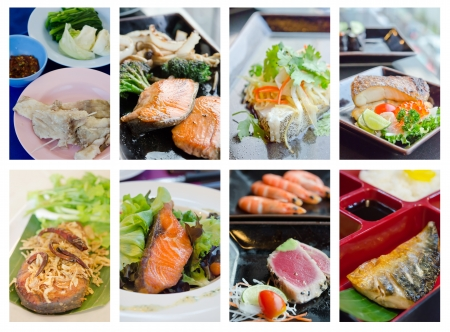 Collage from photographs of fish dish menu