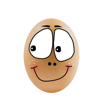 one  brown egg on white background . photo