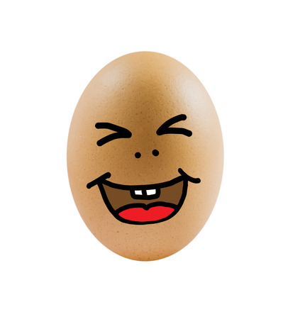 one  brown egg with funny face on white background . photo