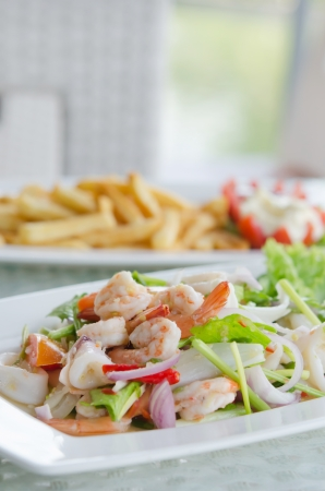 mixed  vegetable and  shrimp, Thai spicy salad photo
