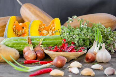 still life of mix vegetable over wooden (  ingredients ) photo