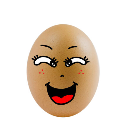 one  brown egg with happy face on white background . photo