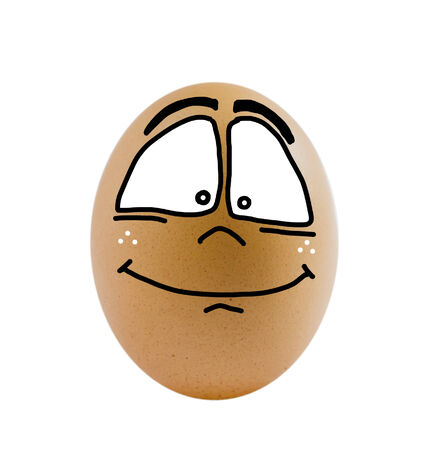 one  brown egg with happy face on white background   photo