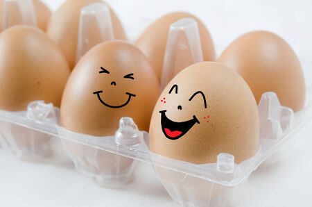 happy  brown egg in  the package on white background photo