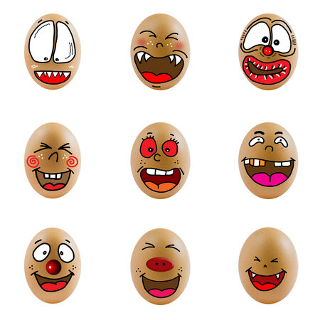 collection of eggs with happy face  Differences faces living together - Diversity concept photo