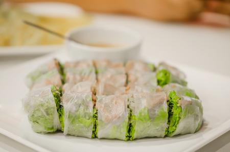 vietnamese food: Fresh Spring Rolls on dish , Vietnamese Food