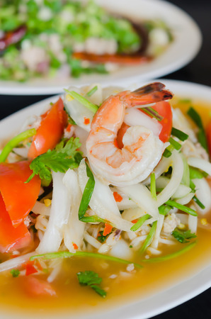 spicy salad , shrimp and mix vegetable photo