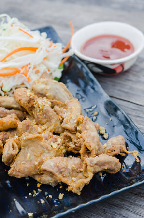 chitterlings: pork chitterlings fried served with chili sauce