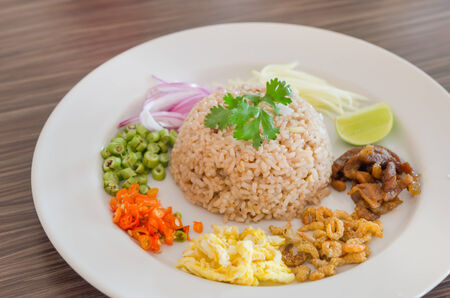 Mixed cooked rice with shrimp paste sauce photo