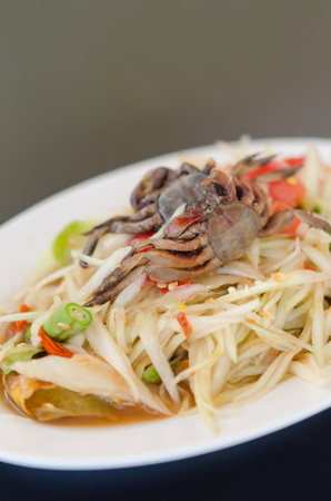 spicy papaya salad with crab on dish , asian spicy food photo