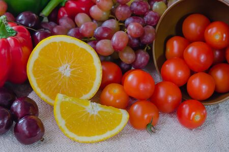 mix fruits and vegetable for health photo