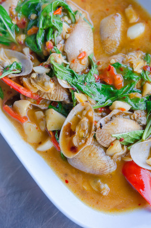 thai basil: Stir fried clams with roasted chili paste and thai basil leaves