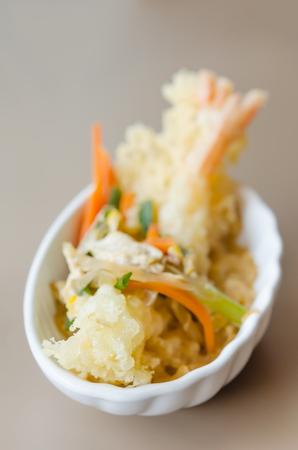 Japanese fried tempura  shrimp with tonkatsu sauce photo