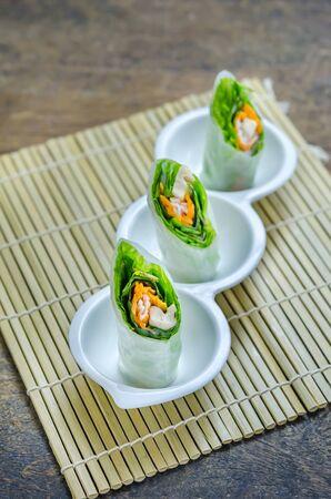 vietnamese food: Fresh Spring Roll on white bowl ,  Vietnamese Food