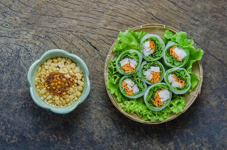 spring roll: vista dall'alto Fresh Spring Roll, Vietnamese Food.