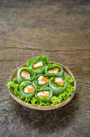 spring roll: Fresh Spring Roll on bamboo basket, Vietnamese Food