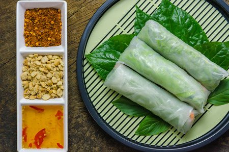 spring roll: top view Fresh Spring Roll, Vietnamese Food.