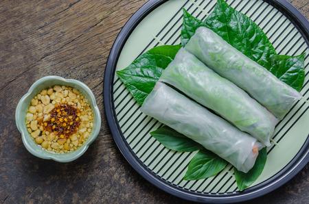 vietnamese food: top view Fresh Spring Roll, Vietnamese Food.
